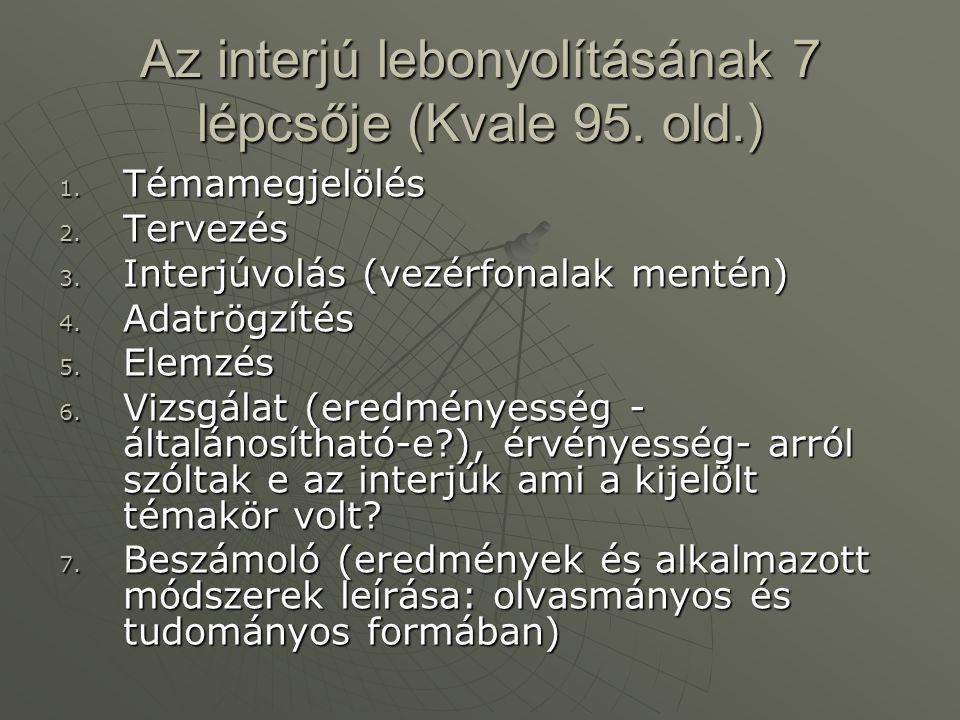 Az interjú lebonyolításának 7 lépcsője (Kvale 95. old.) 1. Témamegjelölés 2. Tervezés 3. Interjúvolás (vezérfonalak mentén) 4. Adatrögzítés 5. Elemzés