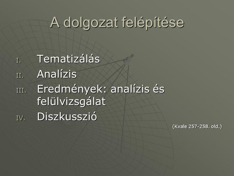 A dolgozat felépítése I. Tematizálás II. Analízis III. Eredmények: analízis és felülvizsgálat IV. Diszkusszió (Kvale 257-258. old.)