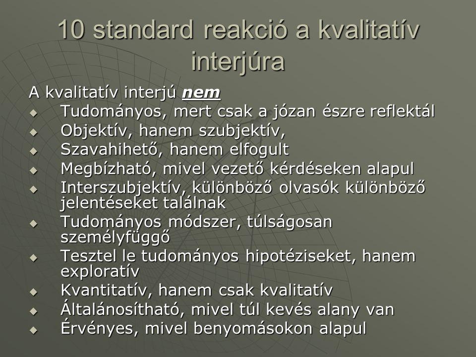 10 standard reakció a kvalitatív interjúra A kvalitatív interjú nem  Tudományos, mert csak a józan észre reflektál  Objektív, hanem szubjektív,  Sz