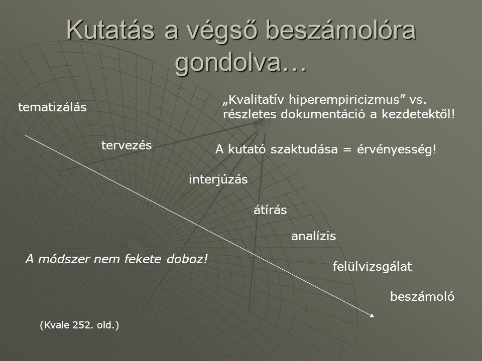 Kutatás a végső beszámolóra gondolva… tematizálás tervezés interjúzás átírás analízis felülvizsgálat beszámoló (Kvale 252. old.) A módszer nem fekete