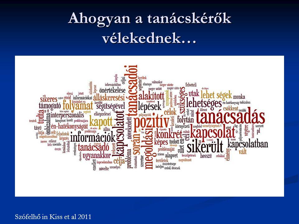 Ahogyan a tanácskérők vélekednek… Szófelhő in Kiss et al 2011