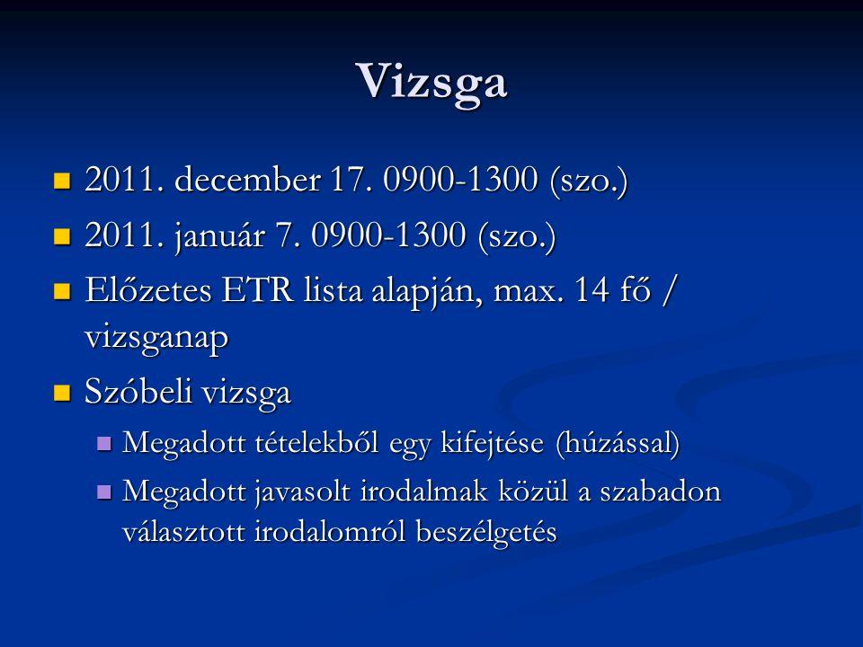 Vizsga 2011. december 17. 0900-1300 (szo.) 2011. december 17. 0900-1300 (szo.) 2011. január 7. 0900-1300 (szo.) 2011. január 7. 0900-1300 (szo.) Előze