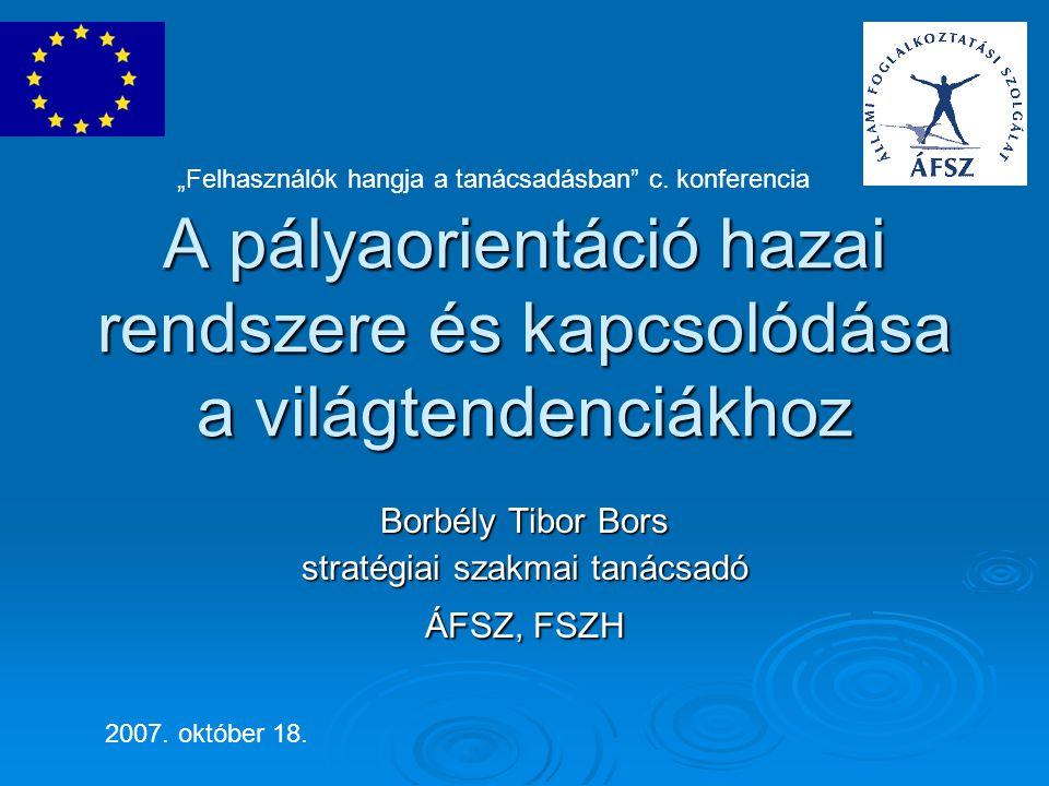 A pályaorientáció hazai rendszere és kapcsolódása a világtendenciákhoz Borbély Tibor Bors stratégiai szakmai tanácsadó ÁFSZ, FSZH 2007.