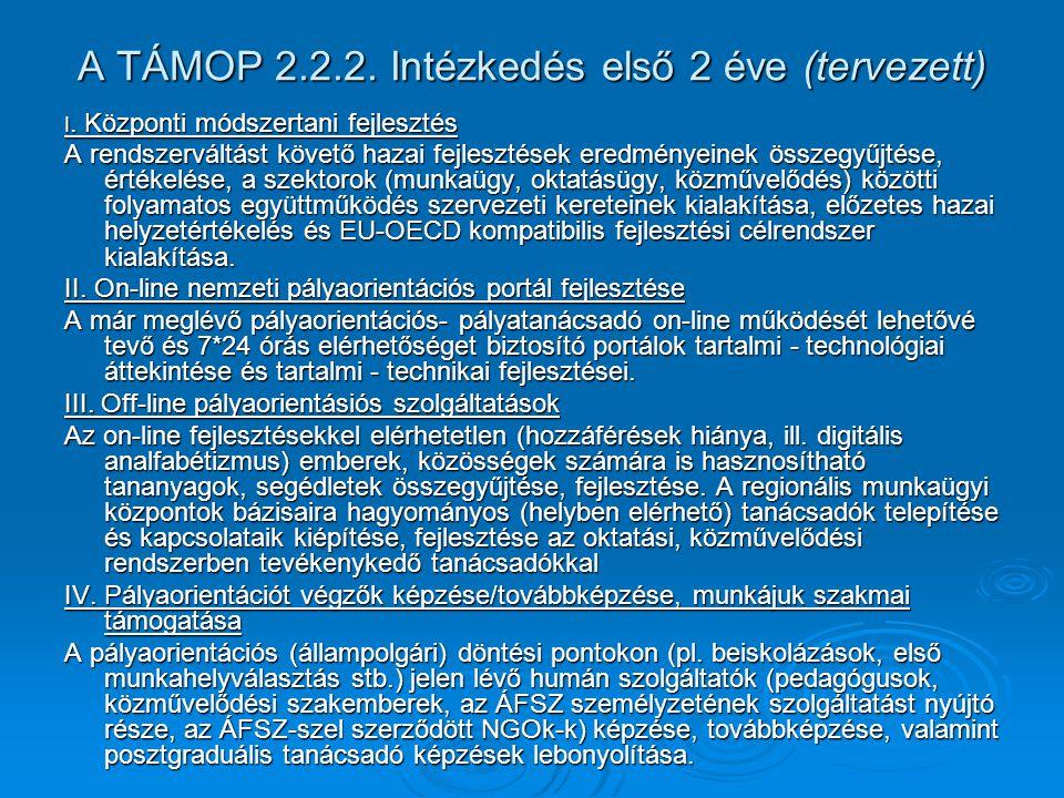 A TÁMOP 2.2.2. Intézkedés első 2 éve (tervezett) I.