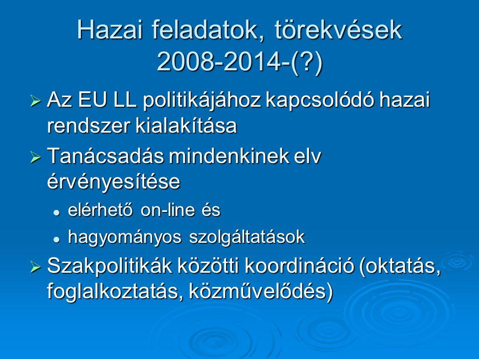 Hazai feladatok, törekvések 2008-2014-( )  Az EU LL politikájához kapcsolódó hazai rendszer kialakítása  Tanácsadás mindenkinek elv érvényesítése elérhető on-line és elérhető on-line és hagyományos szolgáltatások hagyományos szolgáltatások  Szakpolitikák közötti koordináció (oktatás, foglalkoztatás, közművelődés)