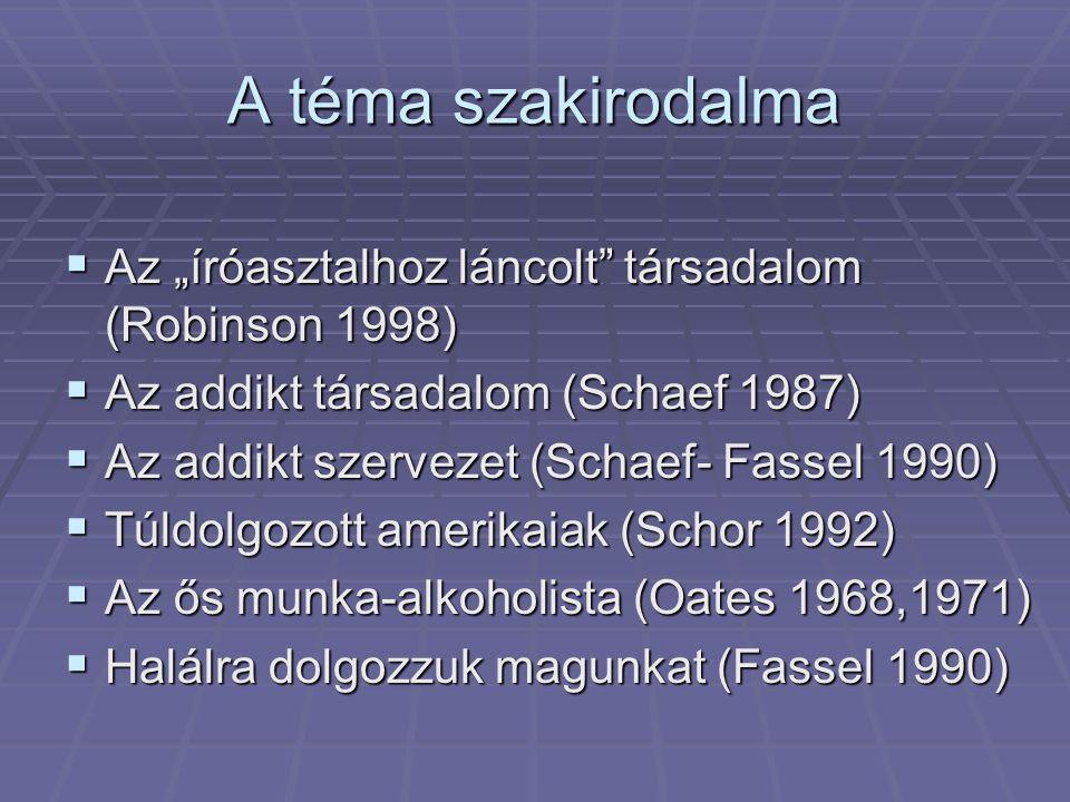 """A téma szakirodalma  Az """"íróasztalhoz láncolt"""" társadalom (Robinson 1998)  Az addikt társadalom (Schaef 1987)  Az addikt szervezet (Schaef- Fassel"""