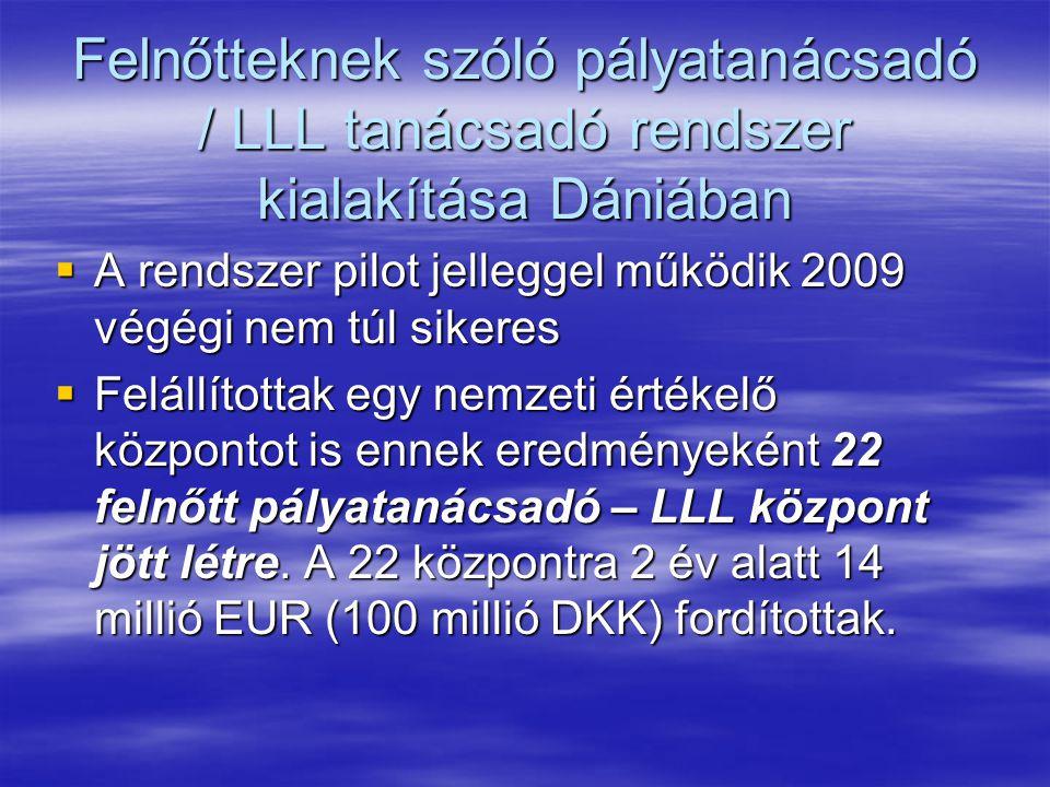 Felnőtteknek szóló pályatanácsadó / LLL tanácsadó rendszer kialakítása Dániában  A rendszer pilot jelleggel működik 2009 végégi nem túl sikeres  Fel