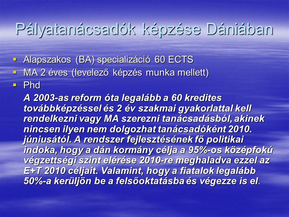 Pályatanácsadók képzése Dániában  Alapszakos (BA) specializáció 60 ECTS  MA 2 éves (levelező képzés munka mellett)  Phd A 2003-as reform óta legalá