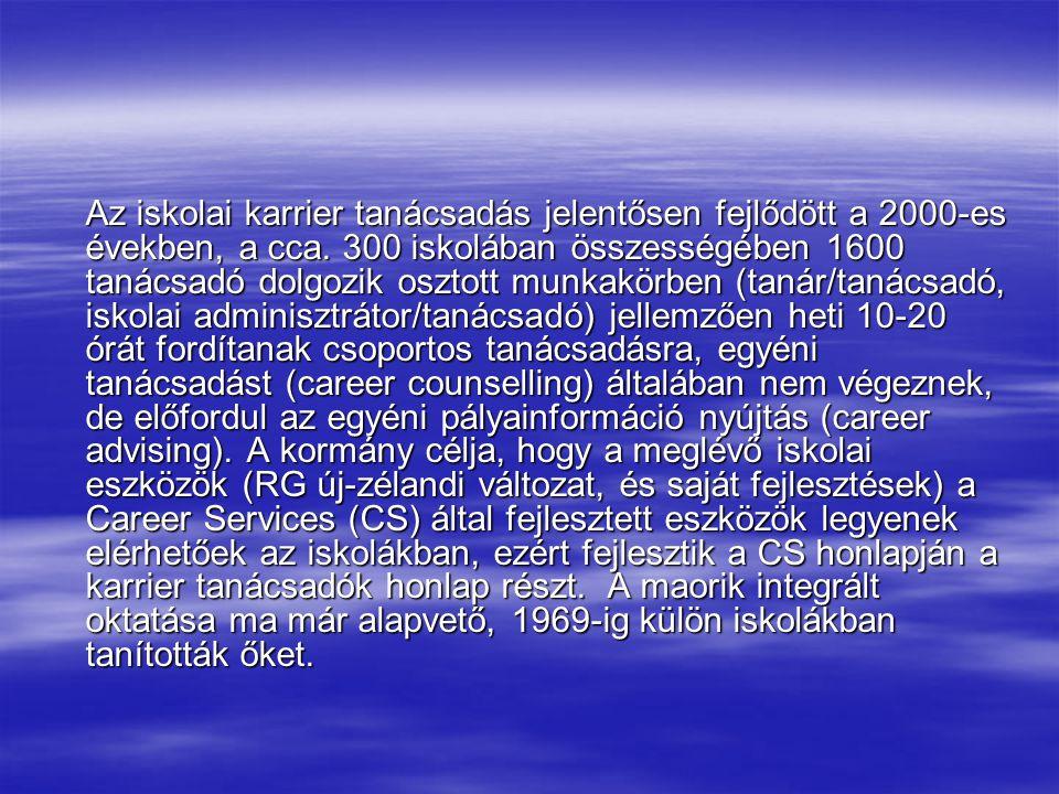 Az iskolai karrier tanácsadás jelentősen fejlődött a 2000-es években, a cca. 300 iskolában összességében 1600 tanácsadó dolgozik osztott munkakörben (