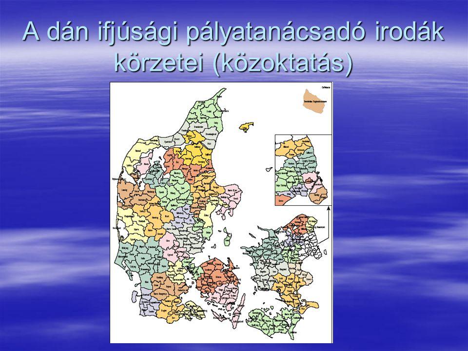 A dán ifjúsági pályatanácsadó irodák körzetei (közoktatás)