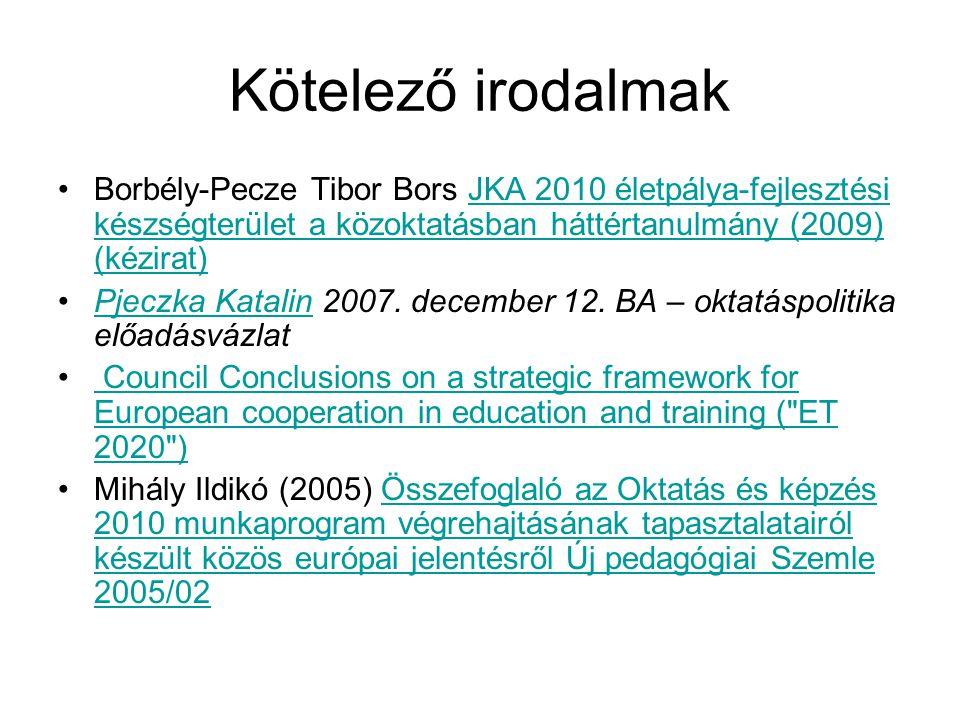 Kötelező irodalmak Borbély-Pecze Tibor Bors JKA 2010 életpálya-fejlesztési készségterület a közoktatásban háttértanulmány (2009) (kézirat)JKA 2010 éle