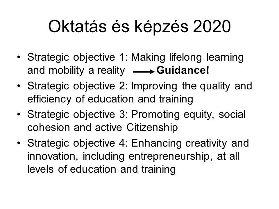 Oktatás és képzés 2020 Strategic objective 1: Making lifelong learning and mobility a reality Guidance! Strategic objective 2: Improving the quality a
