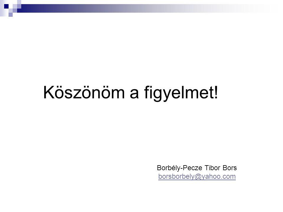 Köszönöm a figyelmet! Borbély-Pecze Tibor Bors borsborbely@yahoo.com borsborbely@yahoo.com