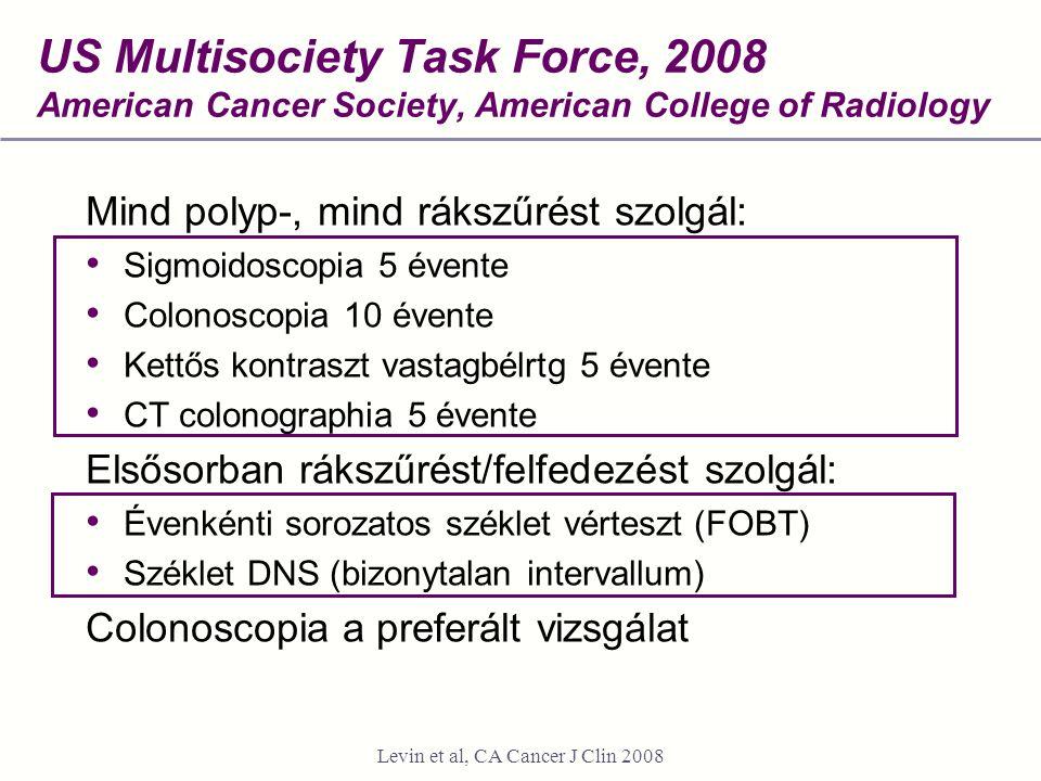 US Multisociety Task Force, 2008 American Cancer Society, American College of Radiology Mind polyp-, mind rákszűrést szolgál: Sigmoidoscopia 5 évente Colonoscopia 10 évente Kettős kontraszt vastagbélrtg 5 évente CT colonographia 5 évente Elsősorban rákszűrést/felfedezést szolgál: Évenkénti sorozatos széklet vérteszt (FOBT) Széklet DNS (bizonytalan intervallum) Colonoscopia a preferált vizsgálat Levin et al, CA Cancer J Clin 2008