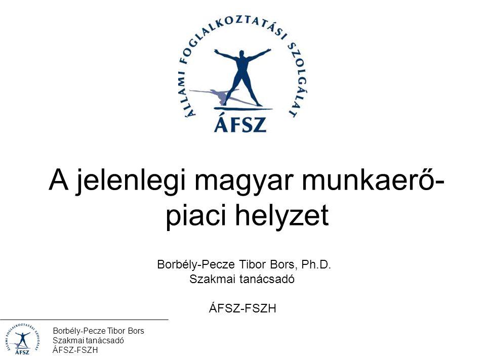 Borbély-Pecze Tibor Bors Szakmai tanácsadó ÁFSZ-FSZH A világgazdasági váláság átszabta az ÁFSZ-ek mozgásterét 2008-2009 Magyarország sem kivétel –Visszaesett a GDP –A termelő szféra elveszítette rendelésállományának jelentős részét Különösen építőipar, járműgyártás, idegenforgalom –Jelentősen nőtt a regiszterben szereplők és a ILO (KSH) által mért munkanélküliek száma –Csökkent a foglalkoztatási szint –Tömegesen jelentkeztek csoportos létszámleépítések Borbély-Pecze Tibor Bors Szakmai tanácsadó ÁFSZ-FSZH