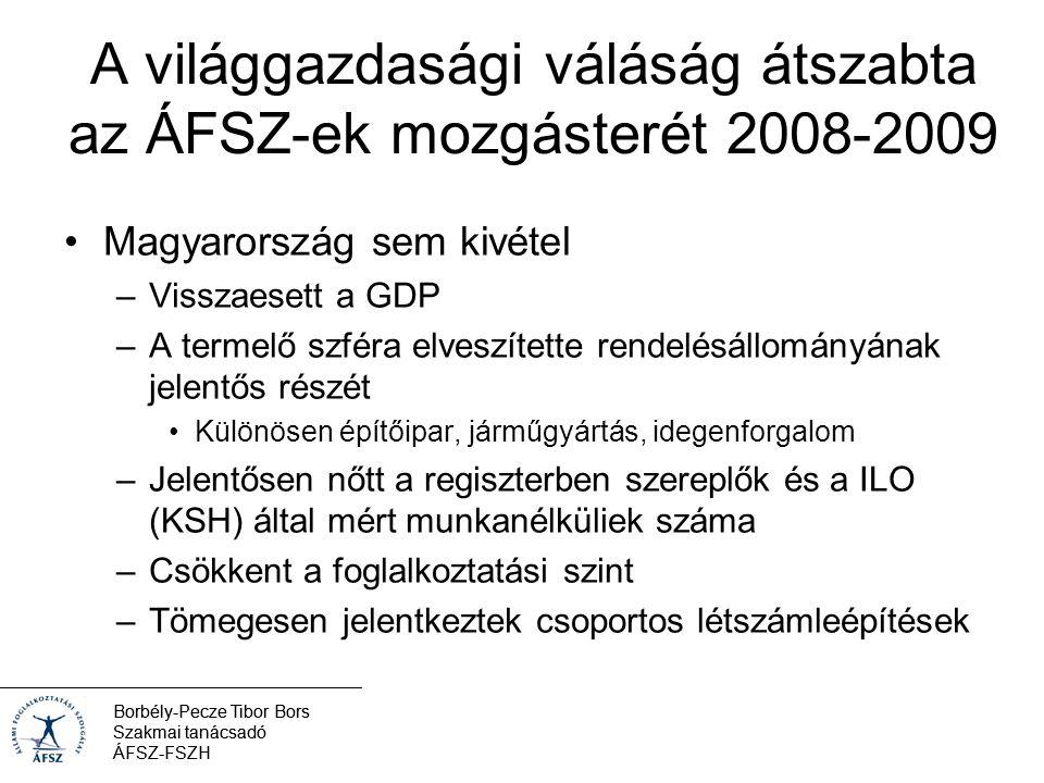 Borbély-Pecze Tibor Bors Szakmai tanácsadó ÁFSZ-FSZH Főbb munkaügyi adatok 2010.