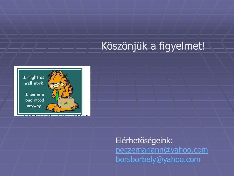 Köszönjük a figyelmet! Elérhetőségeink: peczemariann@yahoo.com borsborbely@yahoo.com