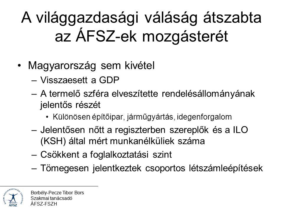 Borbély-Pecze Tibor Bors Szakmai tanácsadó ÁFSZ-FSZH A világgazdasági váláság átszabta az ÁFSZ-ek mozgásterét Magyarország sem kivétel –Visszaesett a GDP –A termelő szféra elveszítette rendelésállományának jelentős részét Különösen építőipar, járműgyártás, idegenforgalom –Jelentősen nőtt a regiszterben szereplők és a ILO (KSH) által mért munkanélküliek száma –Csökkent a foglalkoztatási szint –Tömegesen jelentkeztek csoportos létszámleépítések Borbély-Pecze Tibor Bors Szakmai tanácsadó ÁFSZ-FSZH
