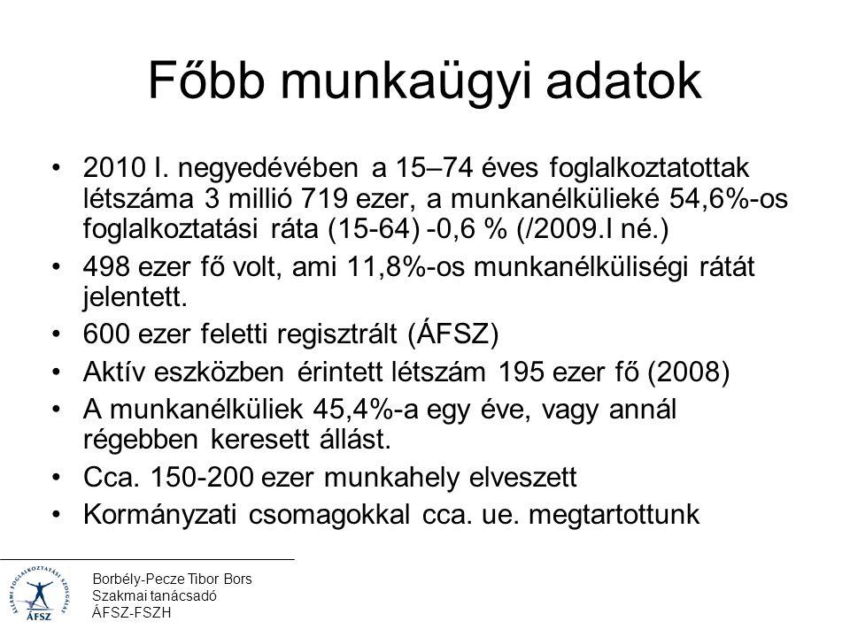 Borbély-Pecze Tibor Bors Szakmai tanácsadó ÁFSZ-FSZH Főbb munkaügyi adatok 2010 I.