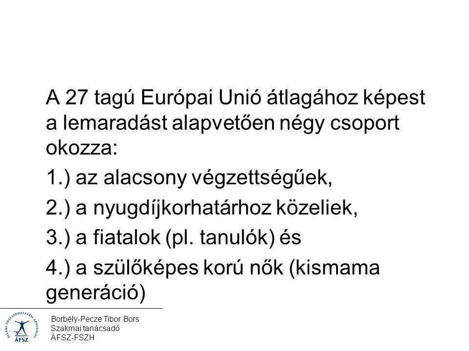 Borbély-Pecze Tibor Bors Szakmai tanácsadó ÁFSZ-FSZH A 27 tagú Európai Unió átlagához képest a lemaradást alapvetően négy csoport okozza: 1.) az alacsony végzettségűek, 2.) a nyugdíjkorhatárhoz közeliek, 3.) a fiatalok (pl.