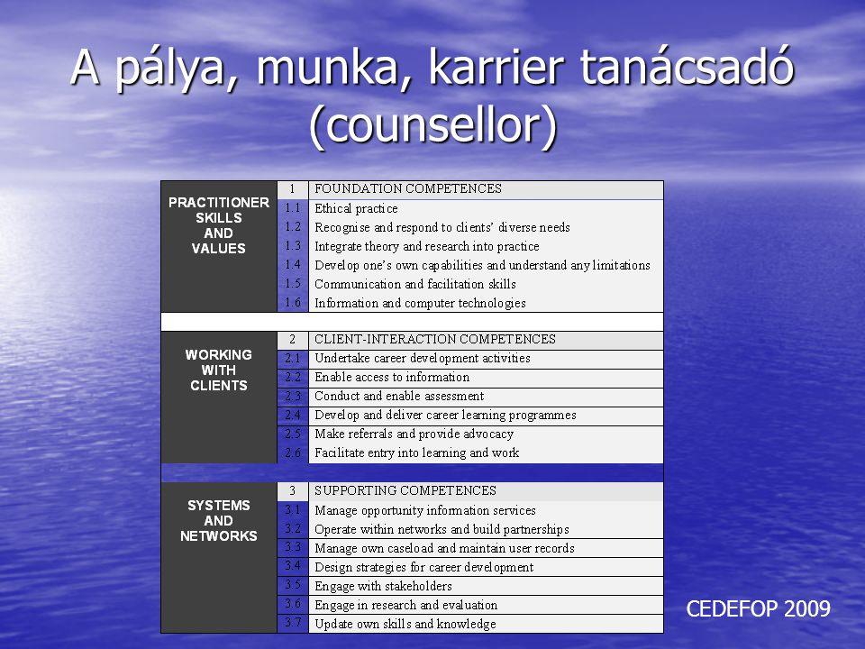 A pálya, munka, karrier tanácsadó (counsellor) CEDEFOP 2009