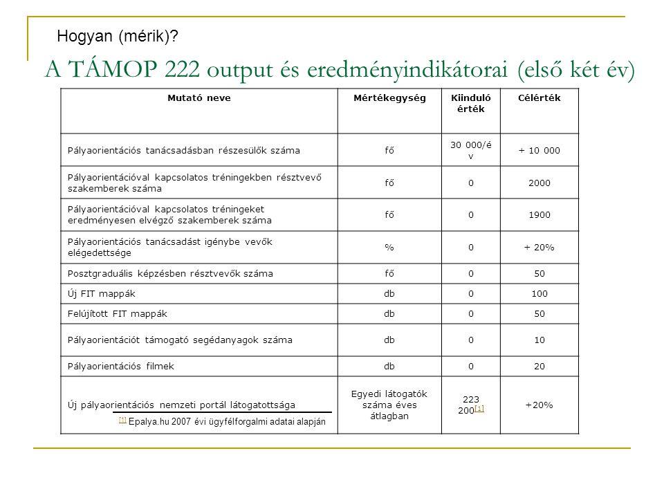 A TÁMOP 222 output és eredményindikátorai (első két év) Mutató neveMértékegységKiinduló érték Célérték Pályaorientációs tanácsadásban részesülők száma