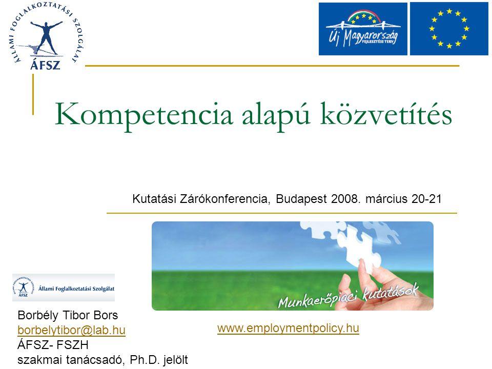 Nemzetközi és hazai jó gyakorlatok Flandria Mijn loopbaan (my career) VDAB Franciaország ROME, bilan du competence ANPE – AFPA 1986-tól Baranya,Somogy, Tolna A képesség alapján történő munkaerő-kiválasztás (2000)