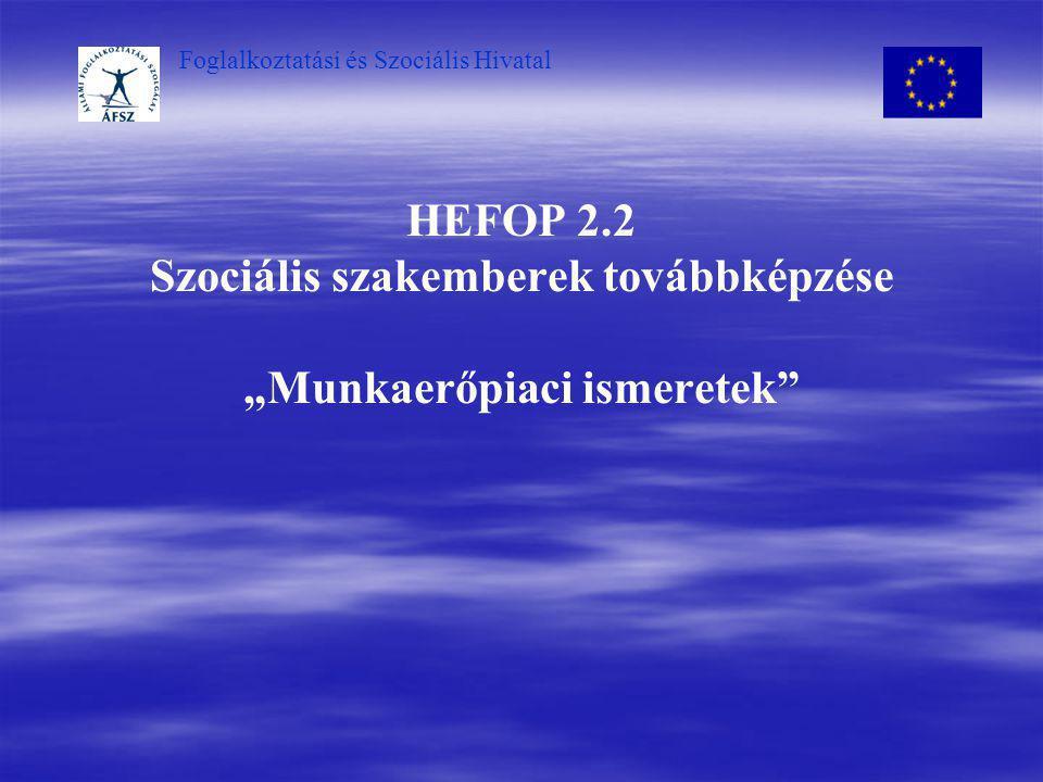 """Foglalkoztatási és Szociális Hivatal HEFOP 2.2 Szociális szakemberek továbbképzése """"Munkaerőpiaci ismeretek"""""""