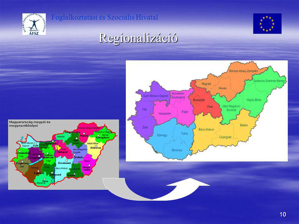 Foglalkoztatási és Szociális Hivatal 10 Regionalizáció
