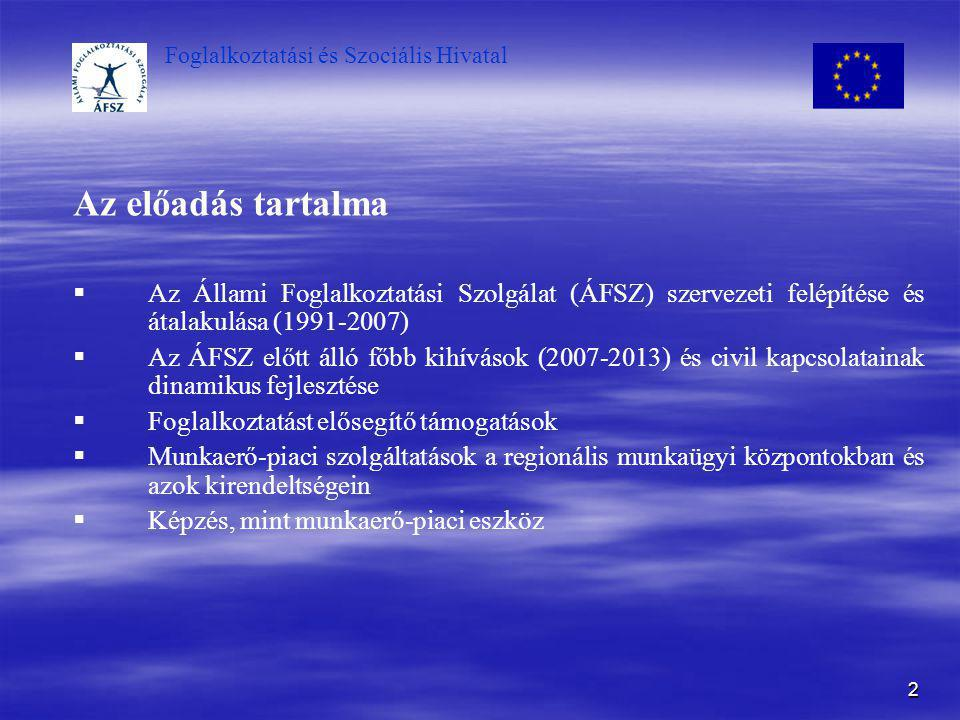 Foglalkoztatási és Szociális Hivatal 2 Az előadás tartalma   Az Állami Foglalkoztatási Szolgálat (ÁFSZ) szervezeti felépítése és átalakulása (1991-2