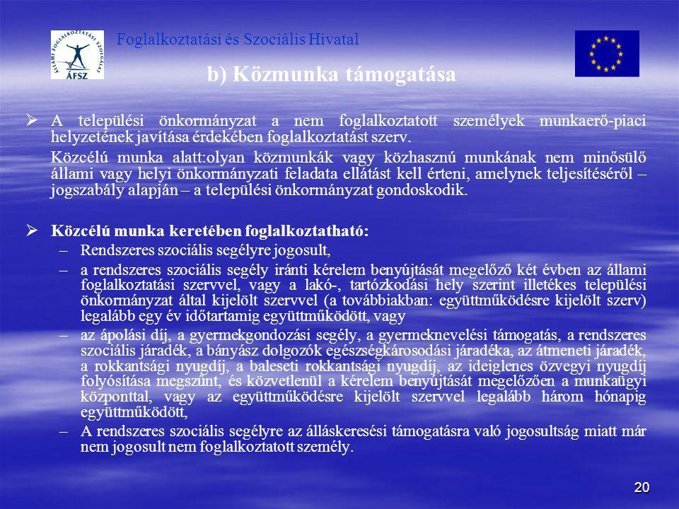 Foglalkoztatási és Szociális Hivatal 20 b) Közmunka támogatása   A települési önkormányzat a nem foglalkoztatott személyek munkaerő-piaci helyzeténe