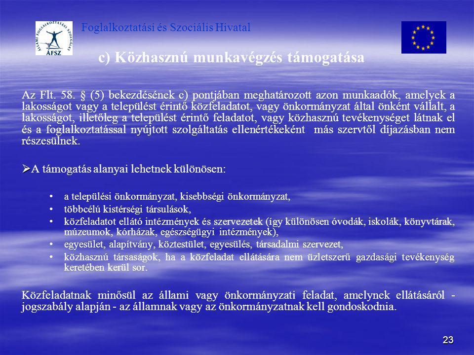 Foglalkoztatási és Szociális Hivatal 23 c) Közhasznú munkavégzés támogatása Az Flt. 58. § (5) bekezdésének c) pontjában meghatározott azon munkaadók,
