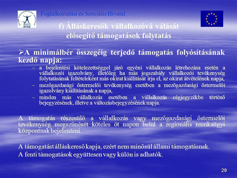 Foglalkoztatási és Szociális Hivatal 29 f) Álláskeresők vállalkozóvá válását elősegítő támogatások folytatás   A minimálbér összegéig terjedő támoga