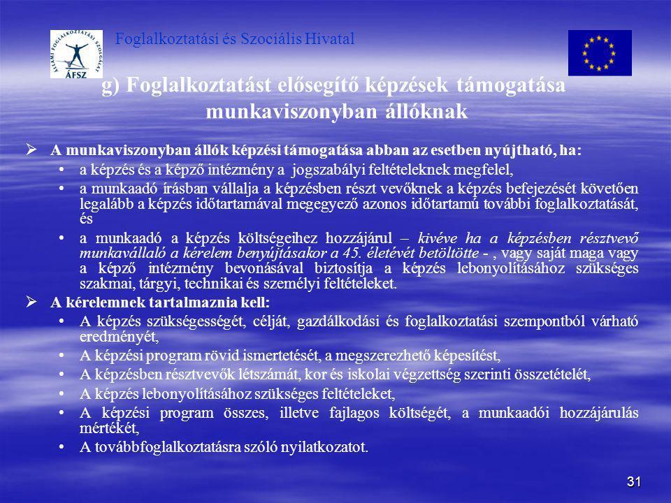 Foglalkoztatási és Szociális Hivatal 31 g) Foglalkoztatást elősegítő képzések támogatása munkaviszonyban állóknak   A munkaviszonyban állók képzési