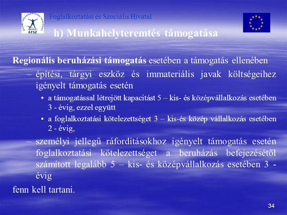 Foglalkoztatási és Szociális Hivatal 34 h) Munkahelyteremtés támogatása Regionális beruházási támogatás esetében a támogatás ellenében – –építési, tár