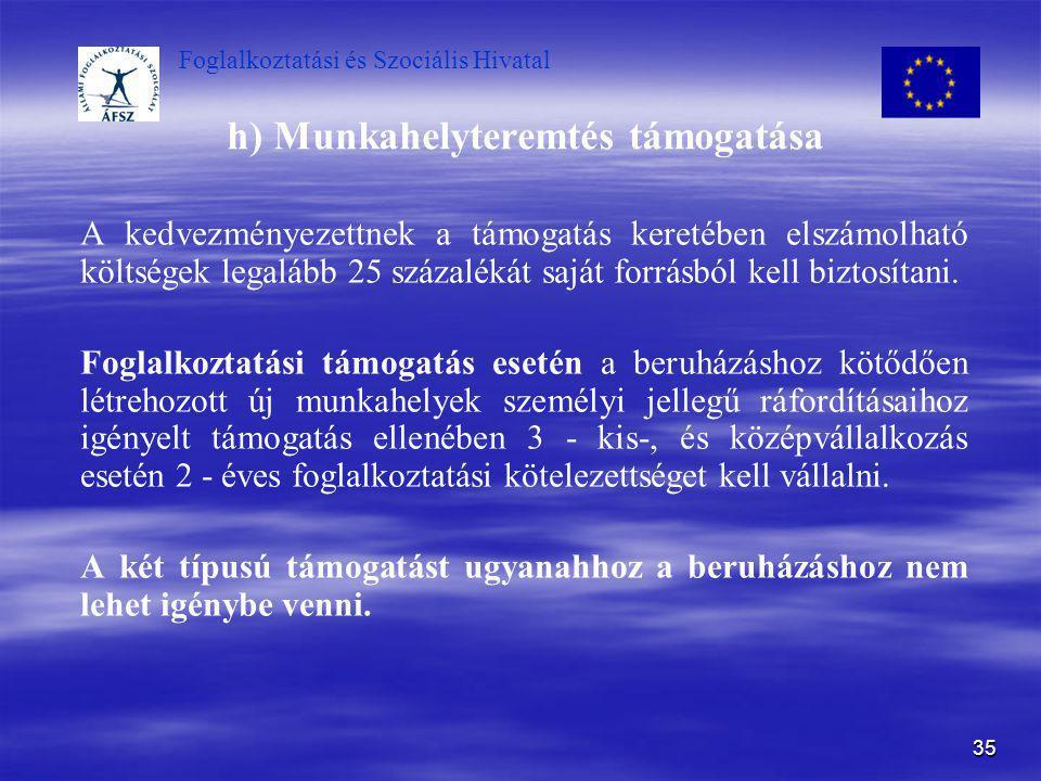 Foglalkoztatási és Szociális Hivatal 35 h) Munkahelyteremtés támogatása A kedvezményezettnek a támogatás keretében elszámolható költségek legalább 25