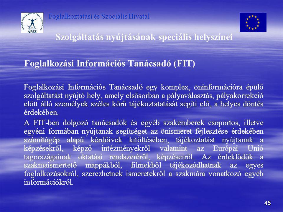 Foglalkoztatási és Szociális Hivatal 45 Szolgáltatás nyújtásának speciális helyszínei Foglalkozási Információs Tanácsadó (FIT) Foglalkozási Információ