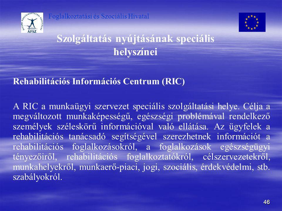 Foglalkoztatási és Szociális Hivatal 46 Szolgáltatás nyújtásának speciális helyszínei Rehabilitációs Információs Centrum (RIC) A RIC a munkaügyi szerv