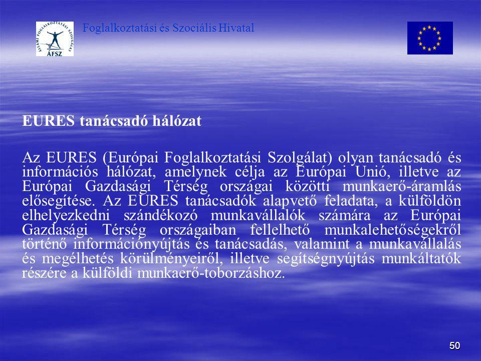 Foglalkoztatási és Szociális Hivatal 50 EURES tanácsadó hálózat Az EURES (Európai Foglalkoztatási Szolgálat) olyan tanácsadó és információs hálózat, a