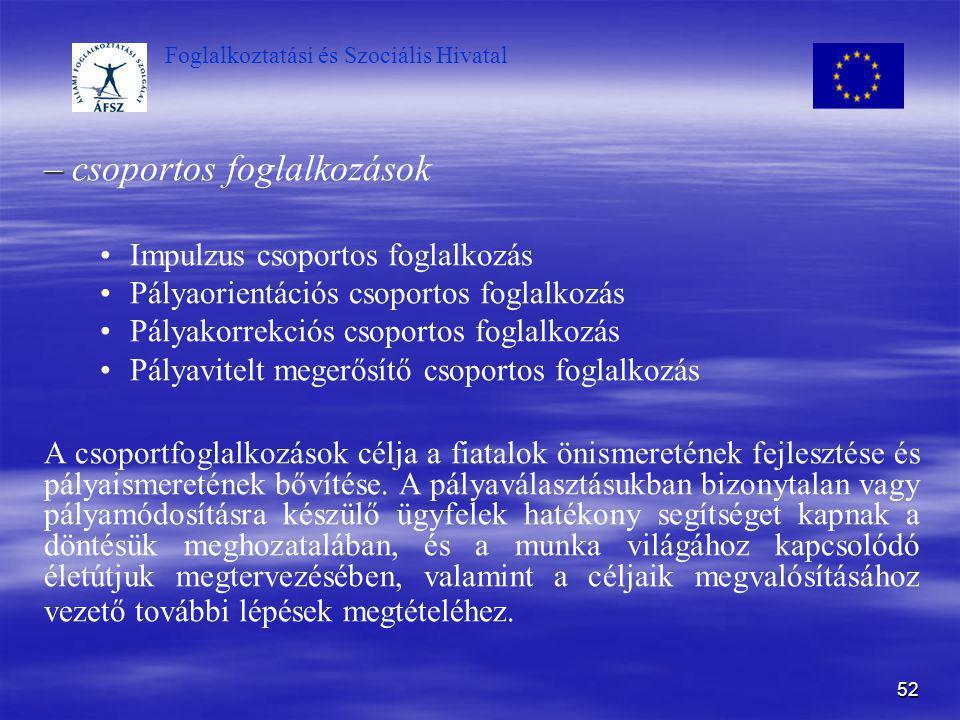 Foglalkoztatási és Szociális Hivatal 52 – – csoportos foglalkozások Impulzus csoportos foglalkozás Pályaorientációs csoportos foglalkozás Pályakorrekc