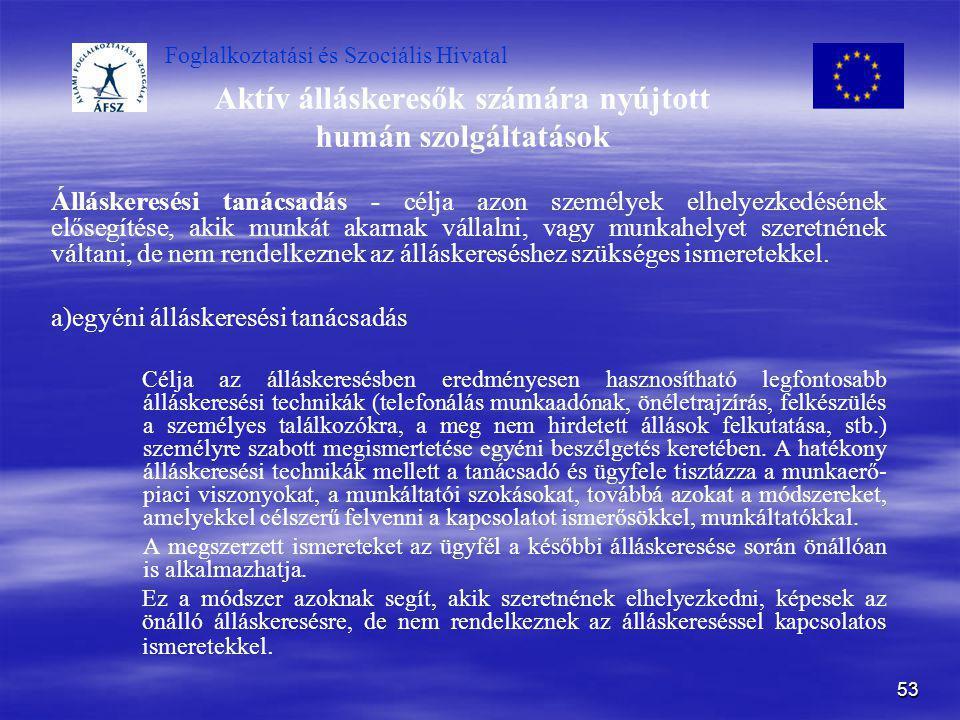 Foglalkoztatási és Szociális Hivatal 53 Aktív álláskeresők számára nyújtott humán szolgáltatások Álláskeresési tanácsadás - célja azon személyek elhel