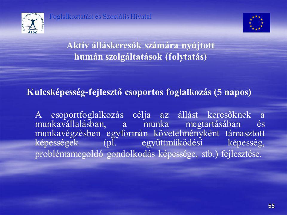 Foglalkoztatási és Szociális Hivatal 55 Aktív álláskeresők számára nyújtott humán szolgáltatások (folytatás) Kulcsképesség-fejlesztő csoportos foglalk