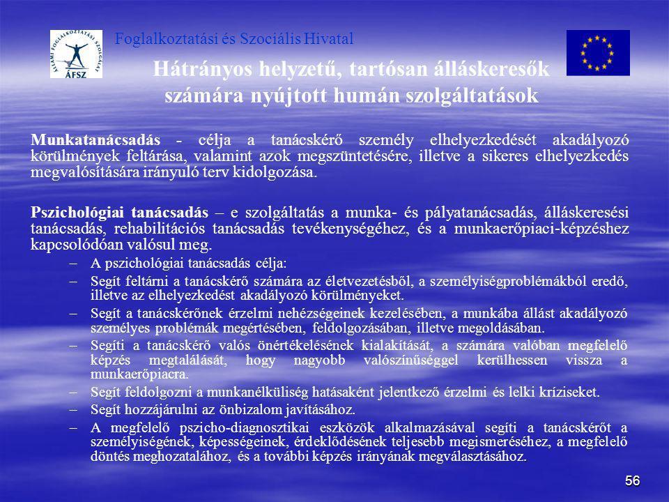 Foglalkoztatási és Szociális Hivatal 56 Hátrányos helyzetű, tartósan álláskeresők számára nyújtott humán szolgáltatások Munkatanácsadás - célja a taná