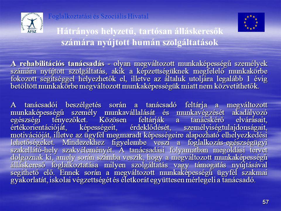 Foglalkoztatási és Szociális Hivatal 57 Hátrányos helyzetű, tartósan álláskeresők számára nyújtott humán szolgáltatások A rehabilitációs tanácsadás -