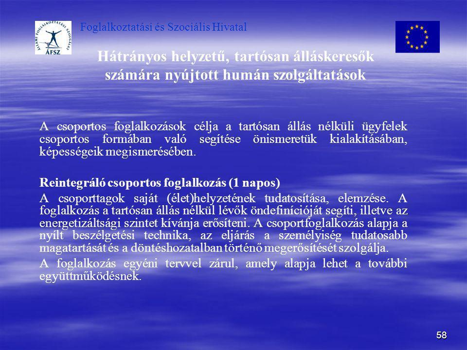 Foglalkoztatási és Szociális Hivatal 58 Hátrányos helyzetű, tartósan álláskeresők számára nyújtott humán szolgáltatások A csoportos foglalkozások célj