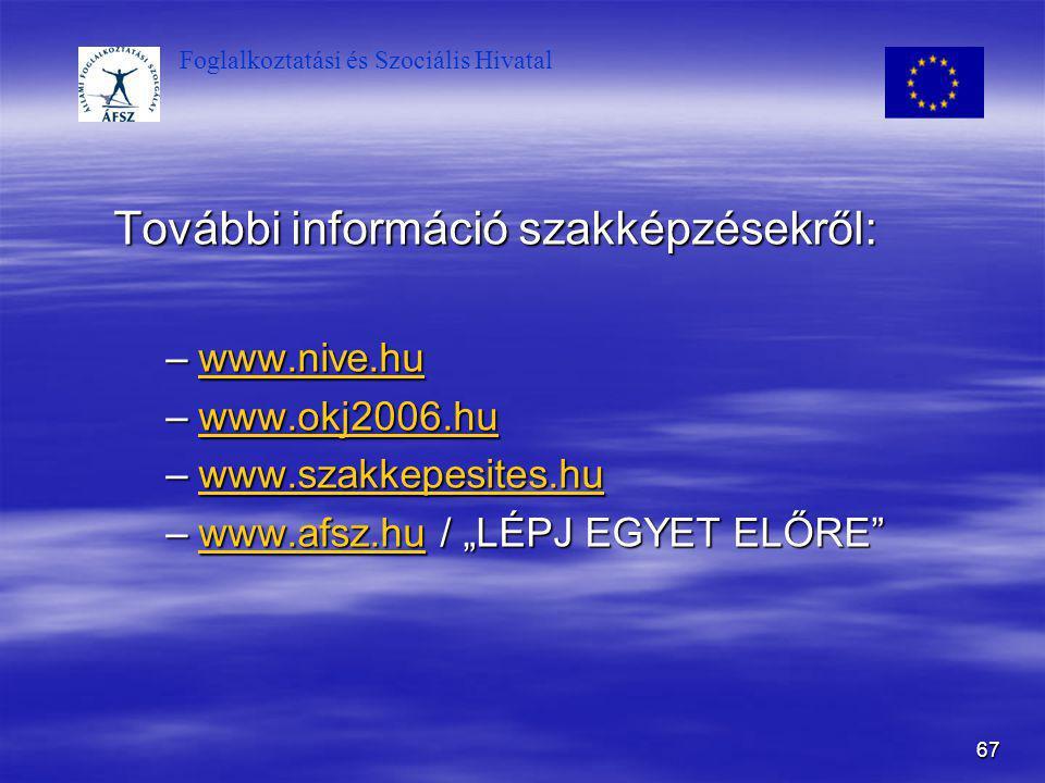 Foglalkoztatási és Szociális Hivatal 67 További információ szakképzésekről: –www.nive.hu www.nive.hu –www.okj2006.hu www.okj2006.hu –www.szakkepesites