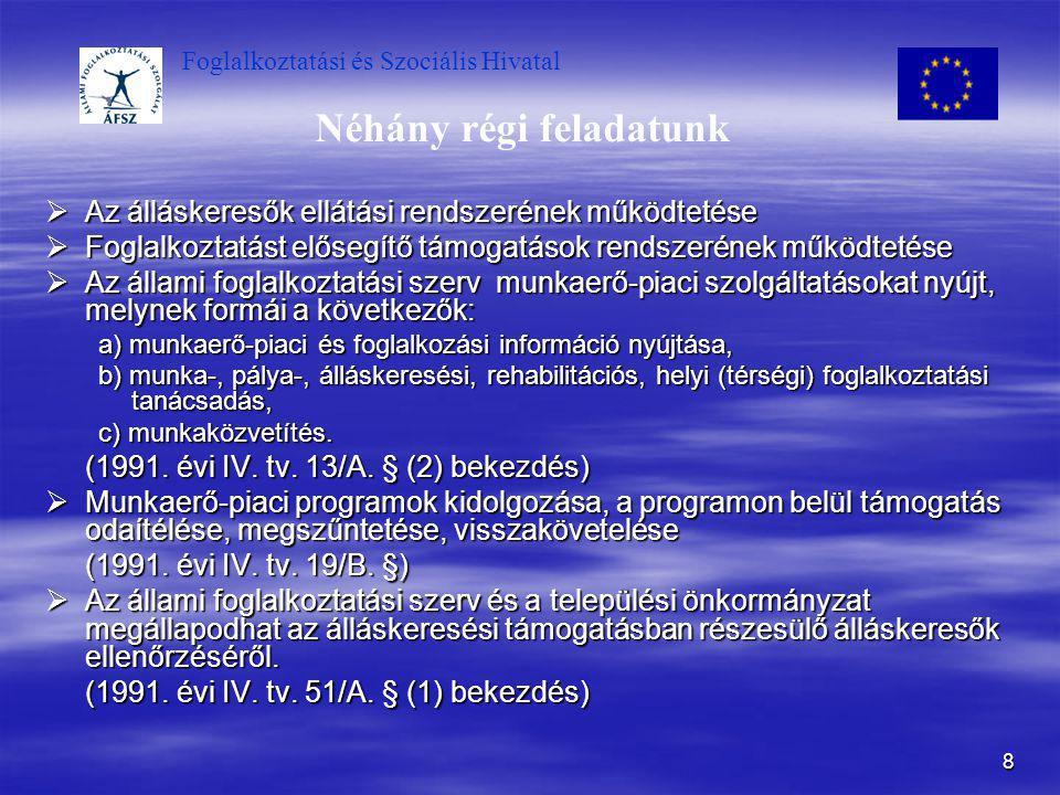Foglalkoztatási és Szociális Hivatal 8 Néhány régi feladatunk  Az álláskeresők ellátási rendszerének működtetése  Foglalkoztatást elősegítő támogatá