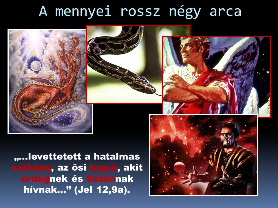 """A mennyei rossz eredete """"Ezután háború támadt a mennyben: Mihály és angyalai harcra keltek a sárkánnyal, és a sárkány is harcra kelt angyalaival együt"""