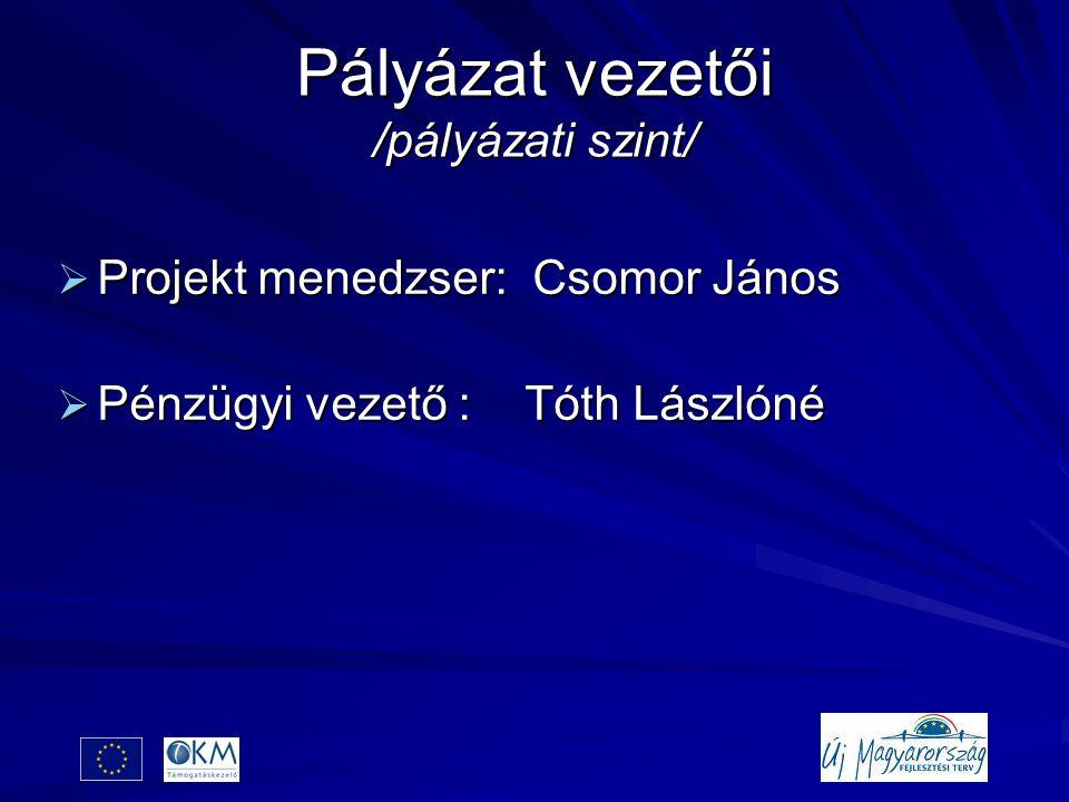 Pályázat vezetői /pályázati szint/  Projekt menedzser: Csomor János  Pénzügyi vezető : Tóth Lászlóné