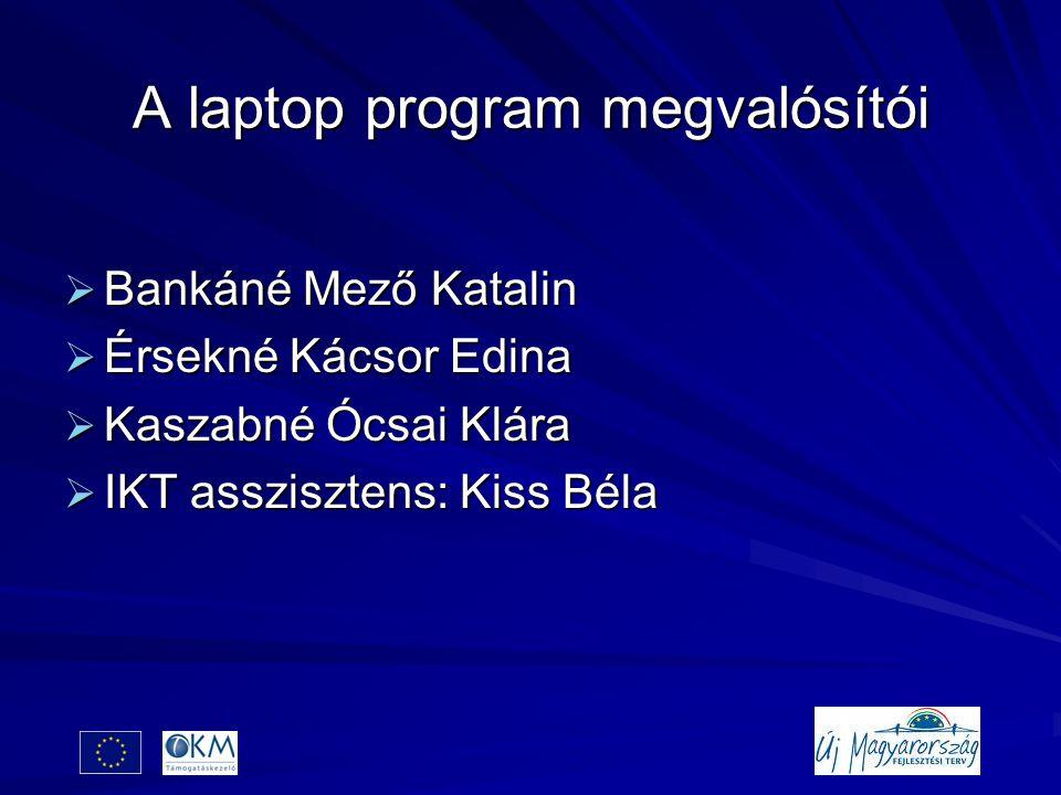 A laptop program megvalósítói  Bankáné Mező Katalin  Érsekné Kácsor Edina  Kaszabné Ócsai Klára  IKT asszisztens: Kiss Béla